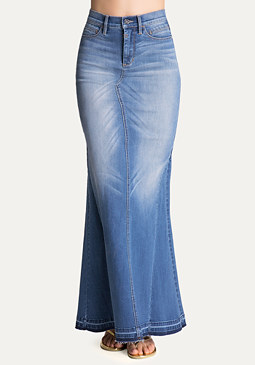 bebe Denim Maxi Skirt