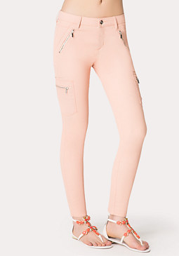 bebe Coated Skinny Cargo Pants