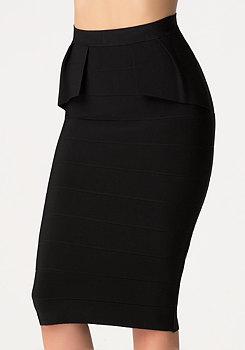 bebe Peplum Bandage Midi Skirt