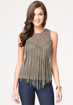Fringed Sweater Top at bebe