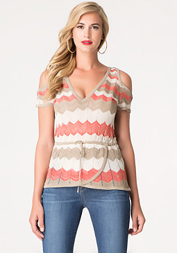 bebe Zigzag Sweater Top