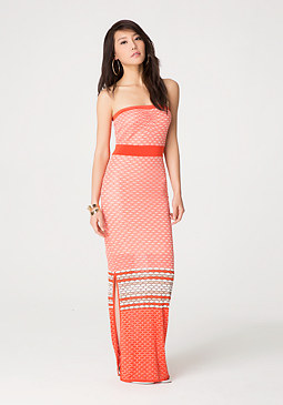 bebe Mix Honeycomb Maxi Dress