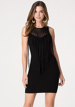 bebe Fringed Sweater Dress