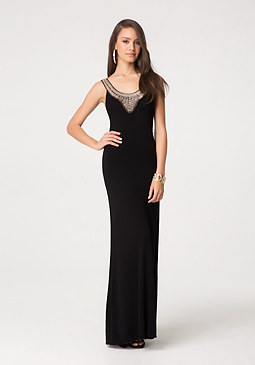 bebe Metallic Crochet Maxi Dress