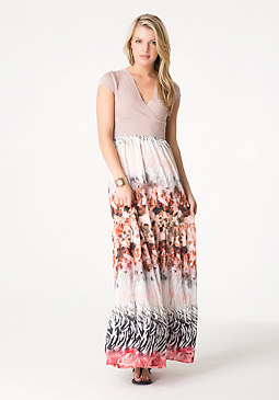 bebe Bandage 2-Fer Maxi Dress