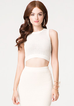 Textured Open Stitch Top at bebe