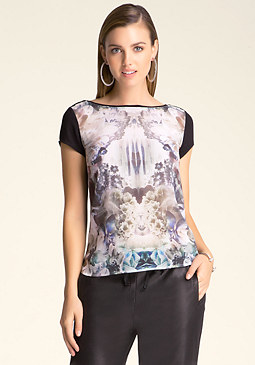 bebe Hi-Lo Graphic Tee