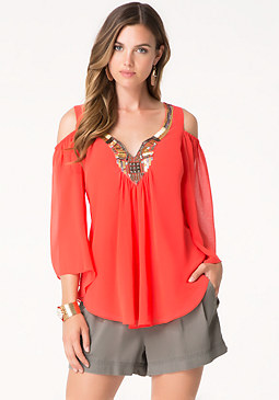 bebe Solid Cold Shoulder Tunic