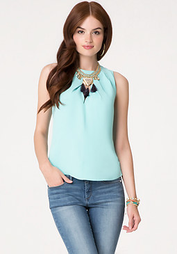 bebe Pleated Neck Top