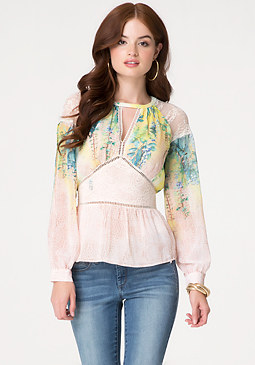 bebe Print Lace Paneled Blouse
