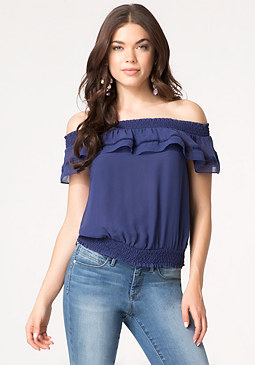 bebe Solid Off Shoulder Top