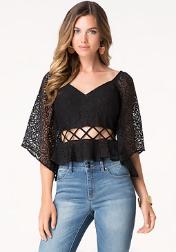 bebe Flare Sleeve Lattice Top
