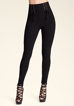 bebe Petite Lace-Up Leggings