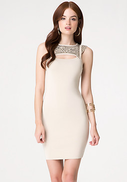 bebe Embellished Peekaboo Dress