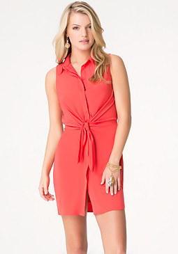 bebe Front Tie Button Up Dress