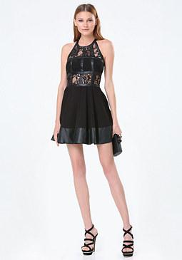 bebe Fit & Flare T-Strap Dress