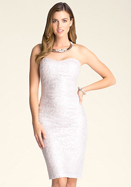 bebe Petite Foil Lace Midi Dress