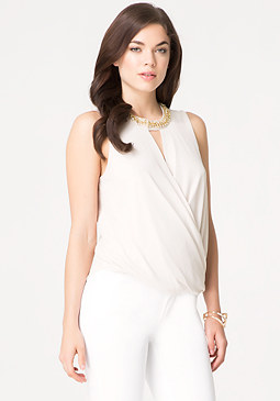 bebe Embellished Surplice Top