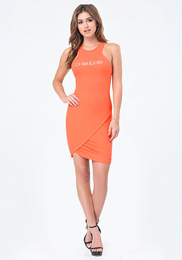 bebe Logo Ruched Hem Dress