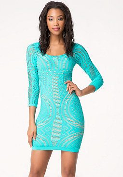 bebe Mix Stitch Bodycon Dress