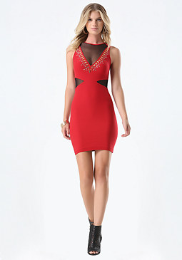 bebe Studded Plunging V Dress