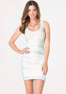 bebe Tie Dye Back Cutout Dress