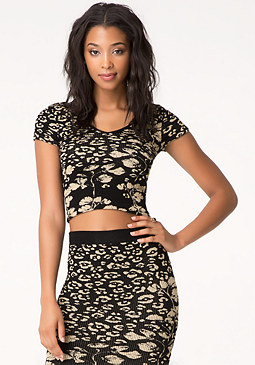 bebe Metallic Leopard Flower Top