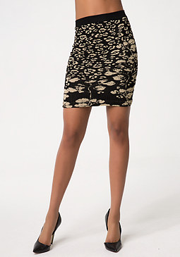 bebe Metallic Leopard Skirt