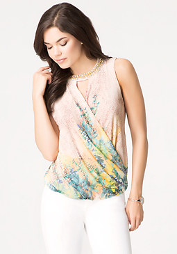 bebe Print Embellished Neck Top
