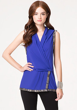 bebe Embellished Surplice Tunic