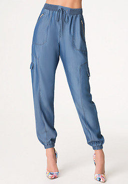 bebe Chambray Cargo Pants