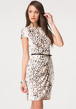 bebe Print Short Sleeve Dress