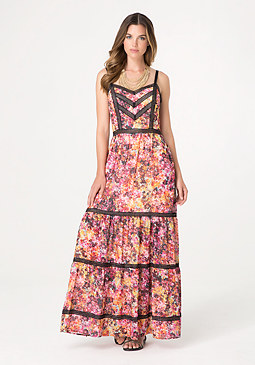 bebe Print Lace Trim Maxi Dress