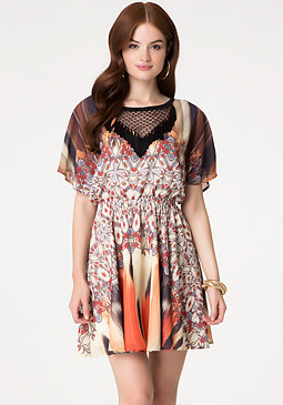 bebe Print Flutter Sleeve Dress