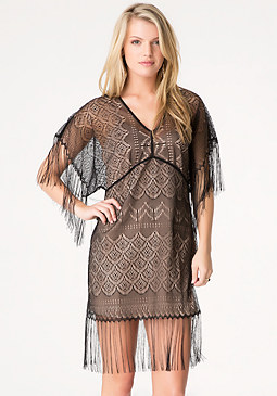 bebe Lace & Fringe Dress