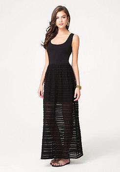 bebe Novelty Knit Maxi Dress