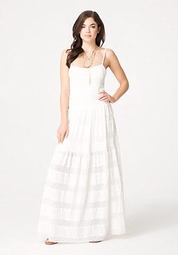 bebe Lace Mesh Maxi Dress