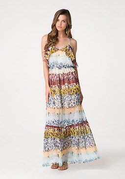 bebe Floweret Ruffle Maxi Dress