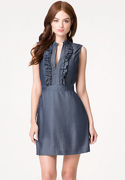 Ruffle Front Chambray Dress at bebe