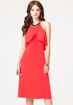 bebe Necklace Halter Midi Dress