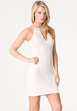 bebe Neck Trim Pointelle Dress