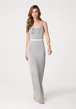 bebe Embellished Tank Maxi Dress