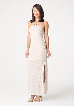 bebe Knit Halter Maxi Dress