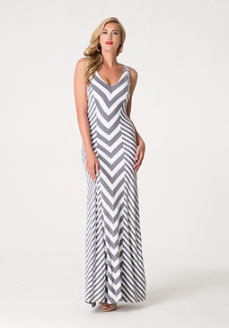 bebe Chevron Striped Maxi Dress