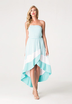 bebe Striped Strapless Dress