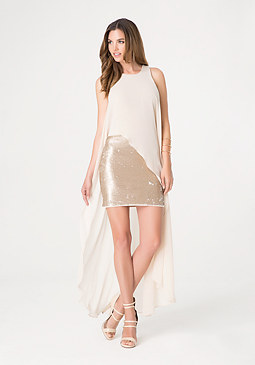 bebe Chiffon Overlay Dress