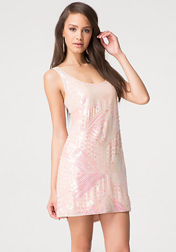 bebe Allover Beaded Shift Dress