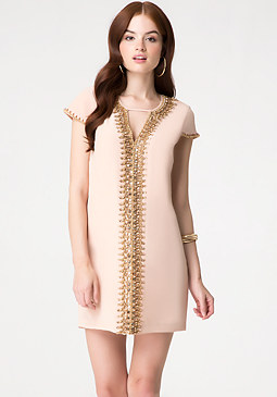 bebe Beaded Silk Shift Dress
