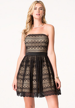 bebe Lace Flared Strapless Dress