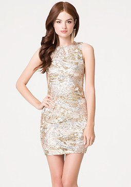 bebe Sequin Open Back Dress